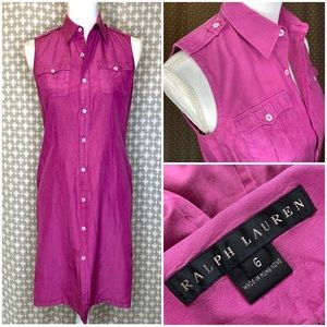 RALPH LAUREN BLACK LABEL 100% Silk Shirtdress Pink